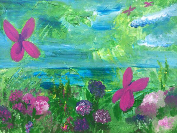 Landschap met water, bloemen en vlinders. Intuïtief geschilderd met acrylverf. Schilderij is gemaakt tijdens de schilderles uit het programma Tekenen is Wellness, Schilderen is Freedom.