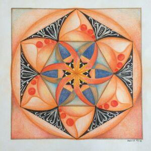 Mandala tekenen is ontspannen en rustgevend. Dit patroon is van een chakramandala
